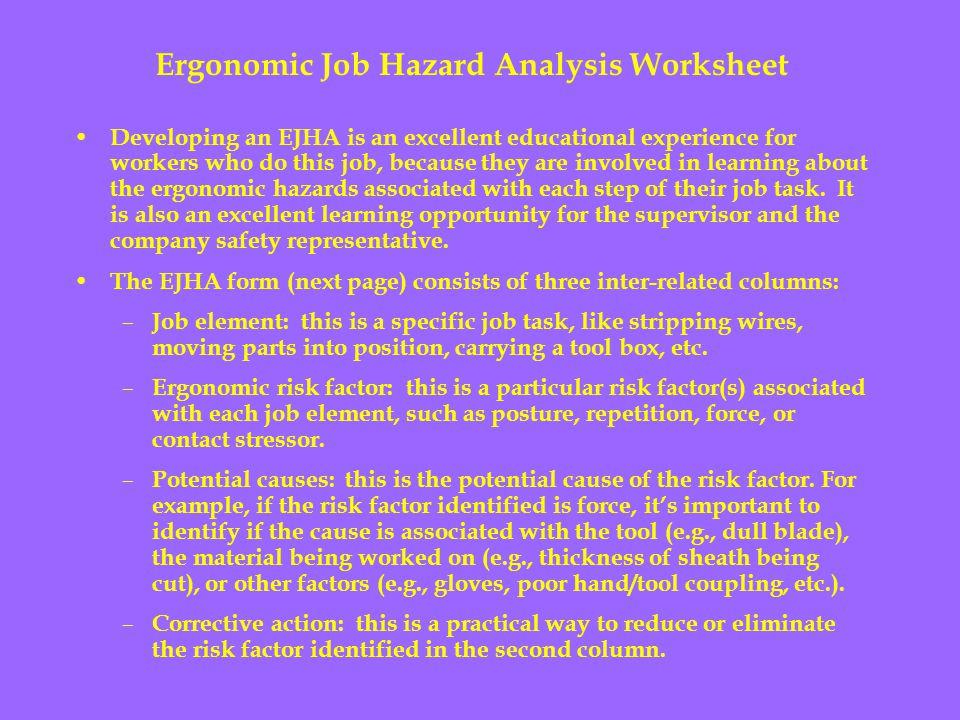 Ergonomic Job Hazard Analysis Worksheet