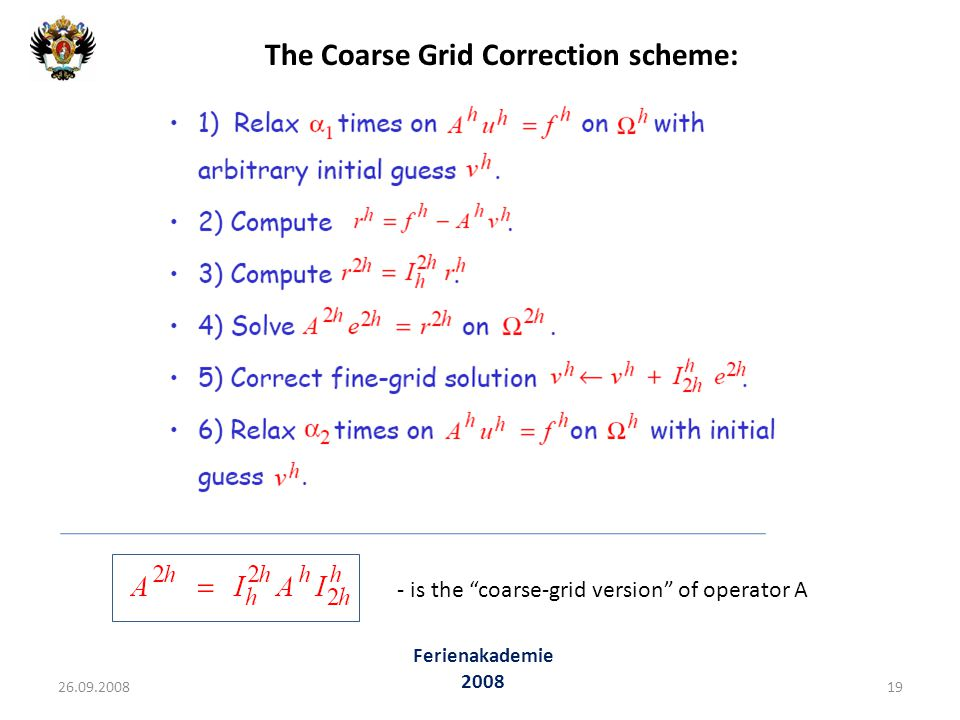 The Coarse Grid Correction scheme: