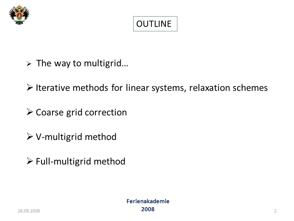 Iterative methods for linear systems, relaxation schemes