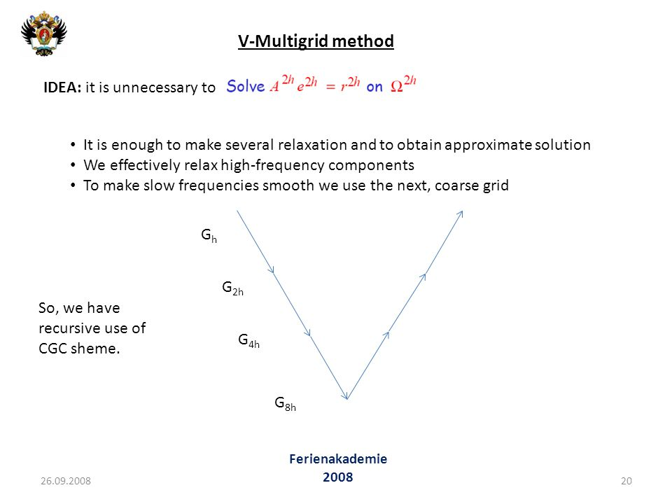 V-Multigrid method IDEA: it is unnecessary to