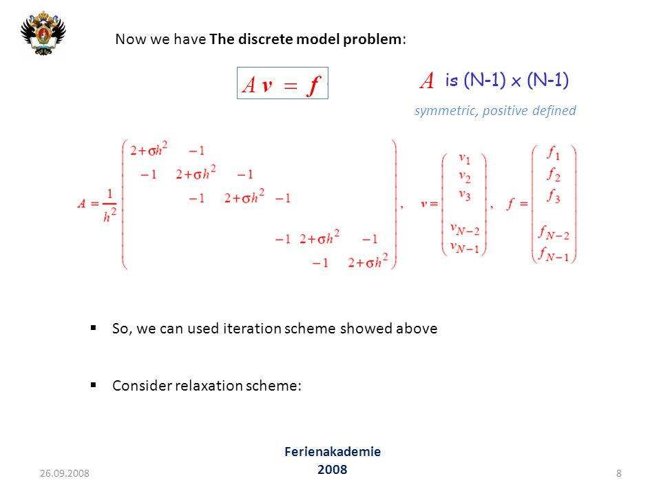 Now we have The discrete model problem: