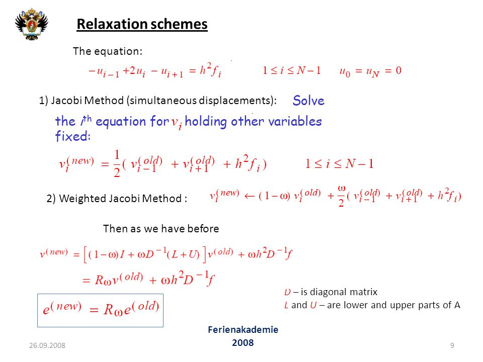 Relaxation schemes The equation: