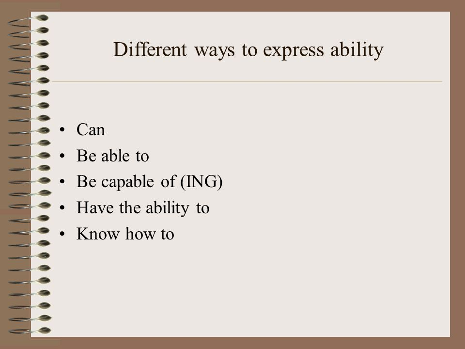 Different ways to express ability