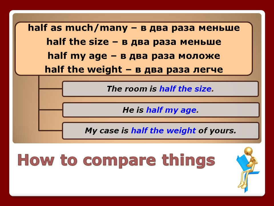 How to compare things half as much/many – в два раза меньше