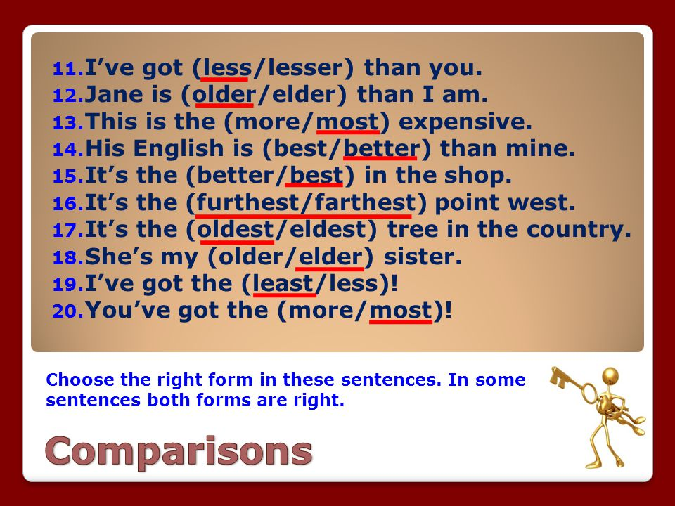 Comparisons I've got (less/lesser) than you.