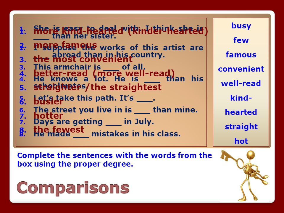 Comparisons more kind-hearted (kinder-hearted) more famous