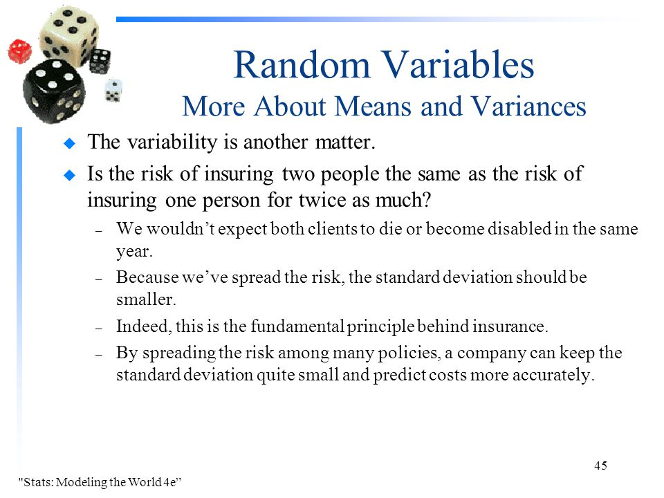 Random Variables More About Means and Variances