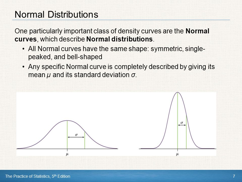Normal Distributions One particularly important class of density curves are the Normal curves, which describe Normal distributions.