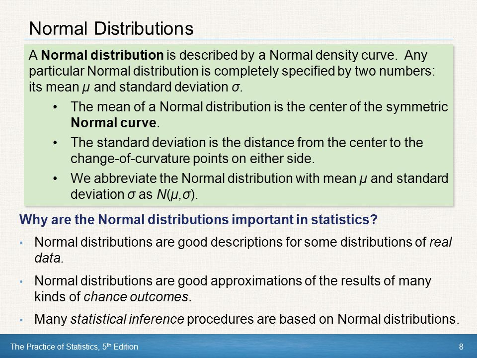 Normal Distributions Why are the Normal distributions important in statistics
