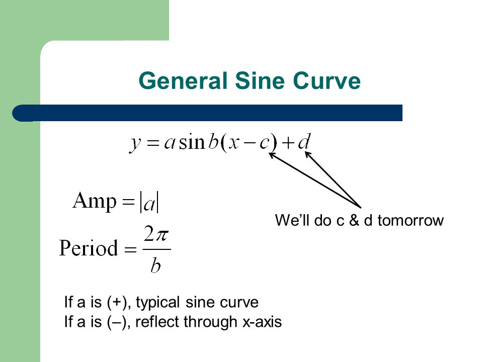 General Sine Curve We'll do c & d tomorrow