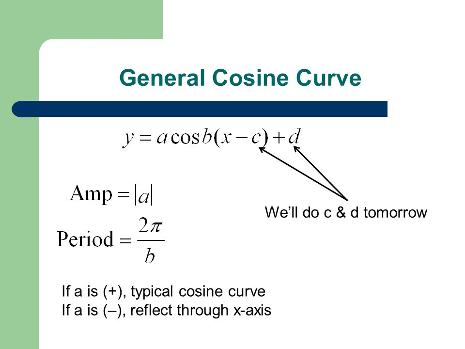 General Cosine Curve We'll do c & d tomorrow