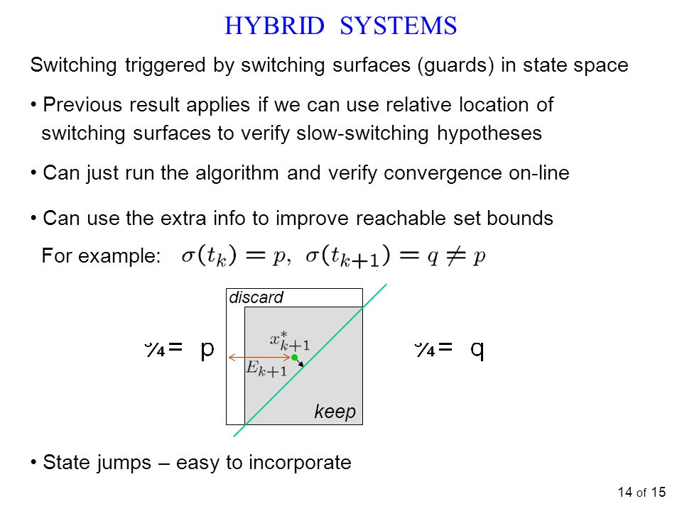 HYBRID SYSTEMS Switching triggered by switching surfaces (guards) in state space. Previous result applies if we can use relative location of.