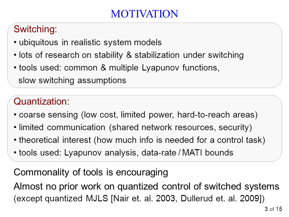 MOTIVATION Switching: Quantization: