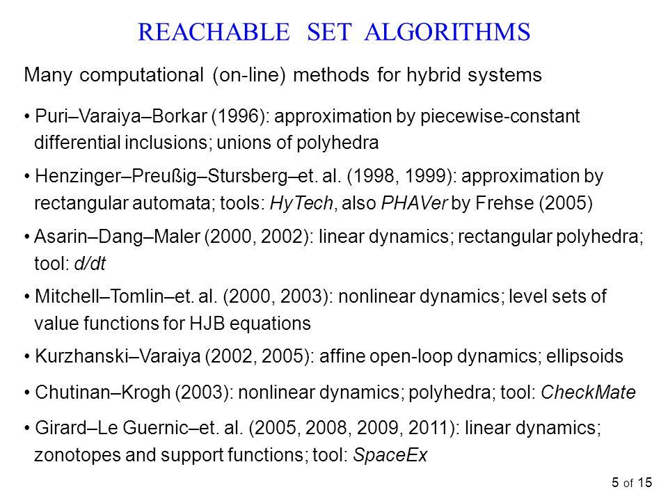REACHABLE SET ALGORITHMS