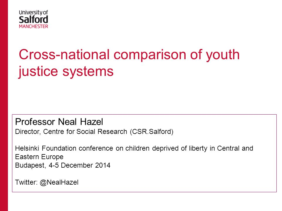 Cross-national comparison of youth justice systems