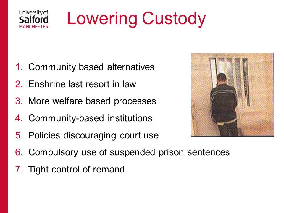 Lowering Custody Community based alternatives