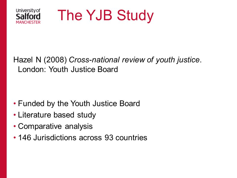 The YJB Study Hazel N (2008) Cross-national review of youth justice. London: Youth Justice Board. Funded by the Youth Justice Board.