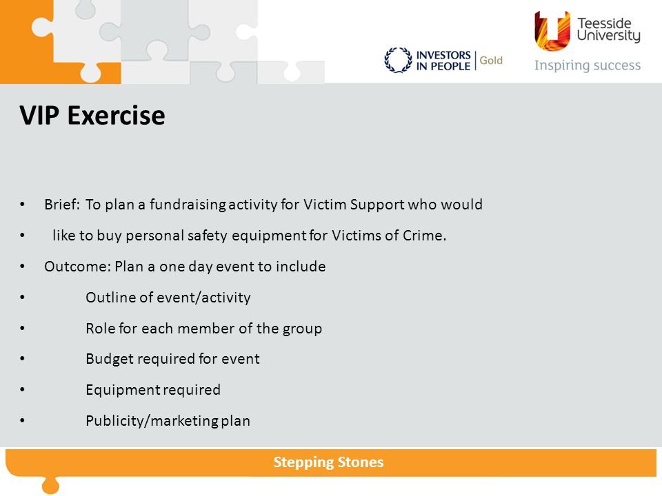 VIP Exercise Brief: To plan a fundraising activity for Victim Support who would. like to buy personal safety equipment for Victims of Crime.