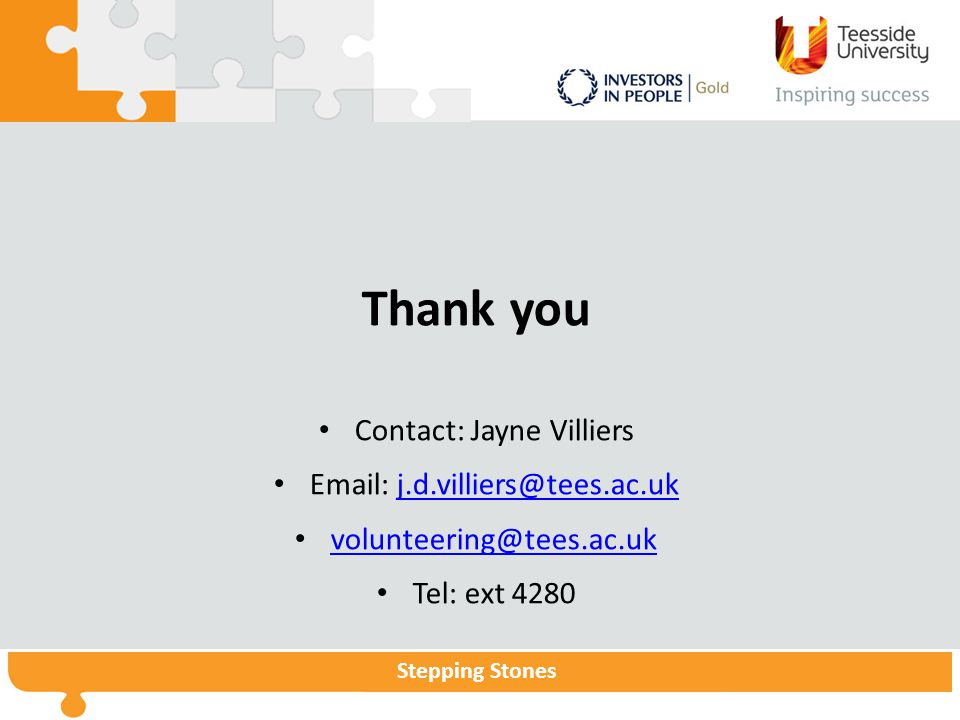 Thank you Contact: Jayne Villiers