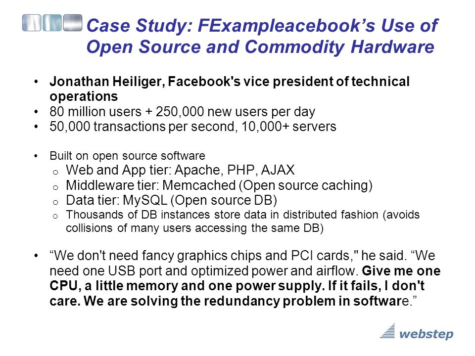 Case Study: FExampleacebook's Use of Open Source and Commodity Hardware