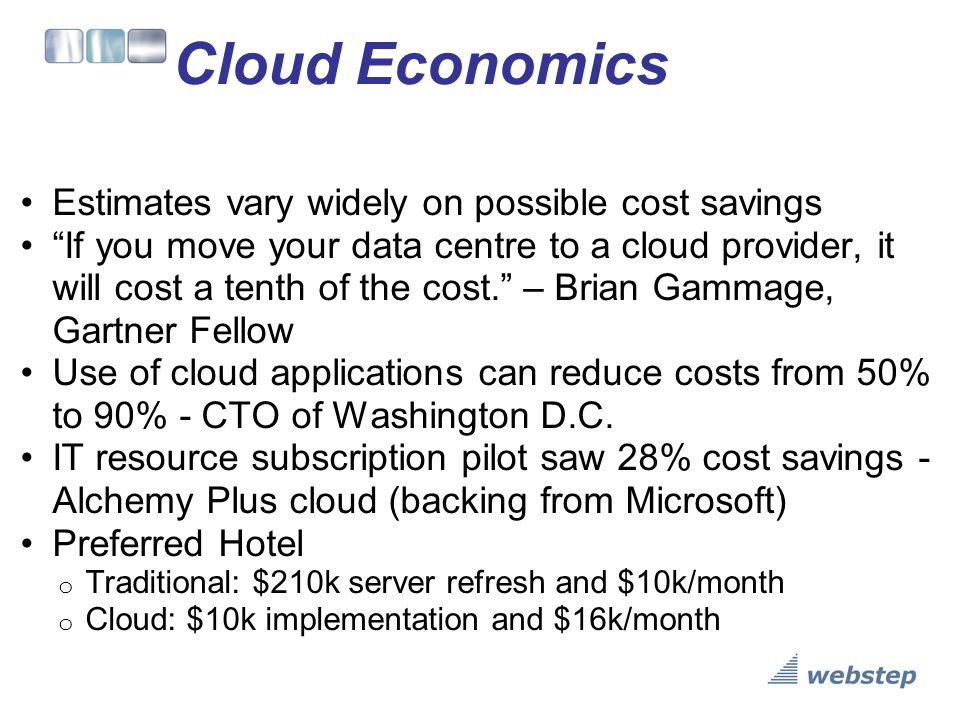 Cloud Economics Estimates vary widely on possible cost savings
