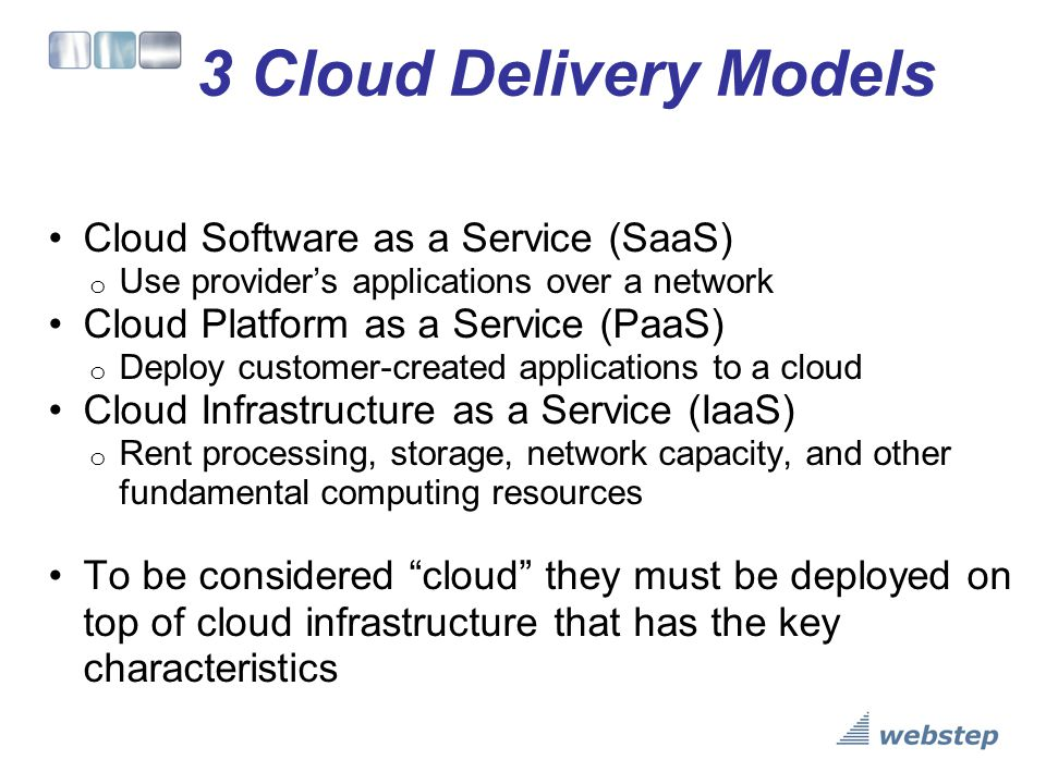 3 Cloud Delivery Models Cloud Software as a Service (SaaS)