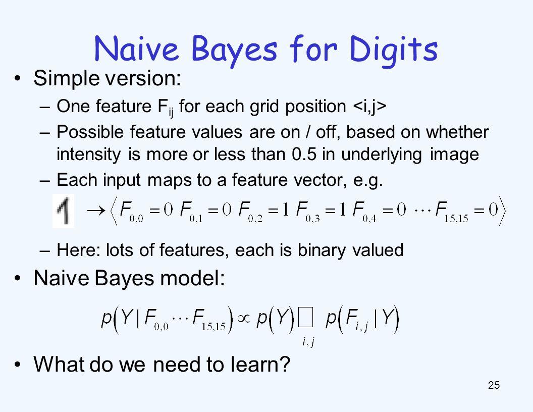 General Naive Bayes A general naive Bayes model: