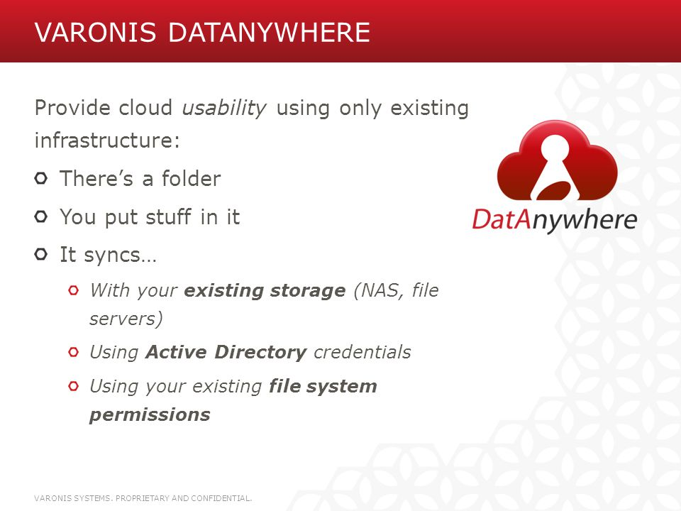 Varonis DatAnywhere Provide cloud usability using only existing infrastructure: There's a folder.