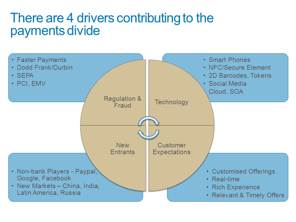 There are 4 drivers contributing to the payments divide