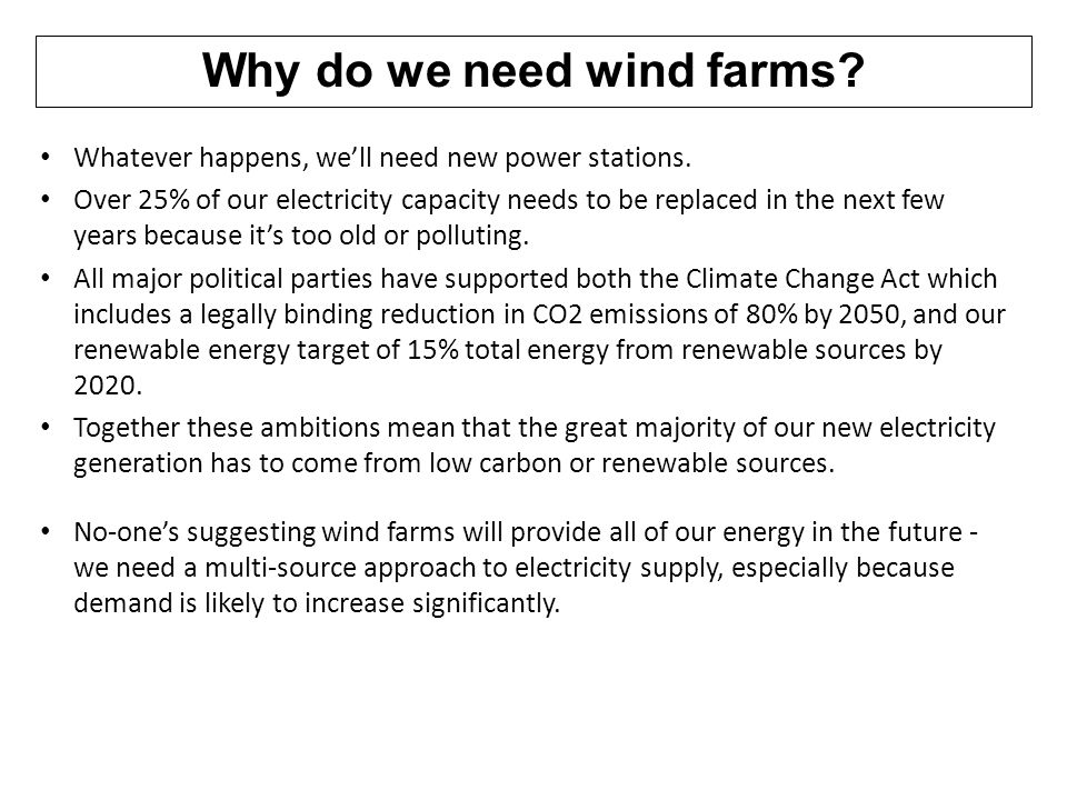 Why do we need wind farms