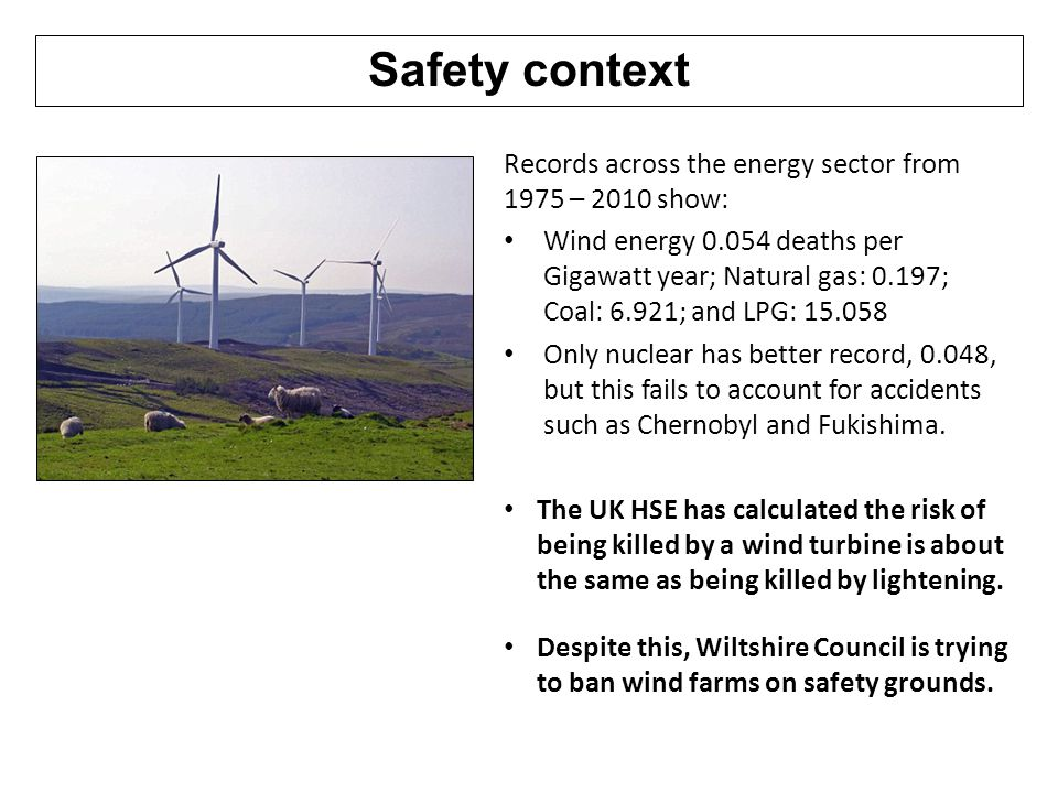 Safety context Records across the energy sector from 1975 – 2010 show: