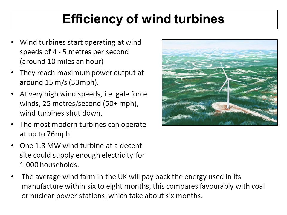 Efficiency of wind turbines