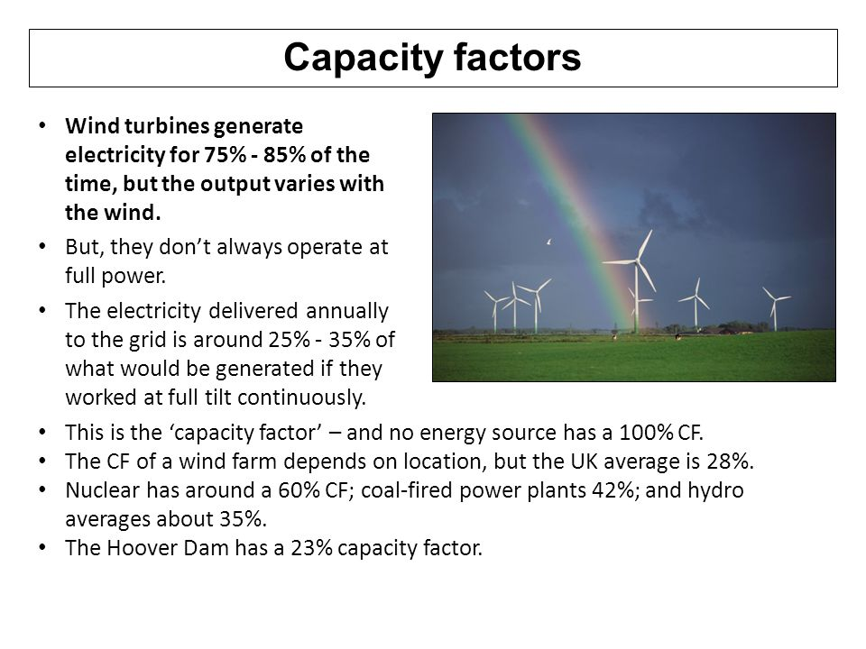 Capacity factors Wind turbines generate electricity for 75% - 85% of the time, but the output varies with the wind.