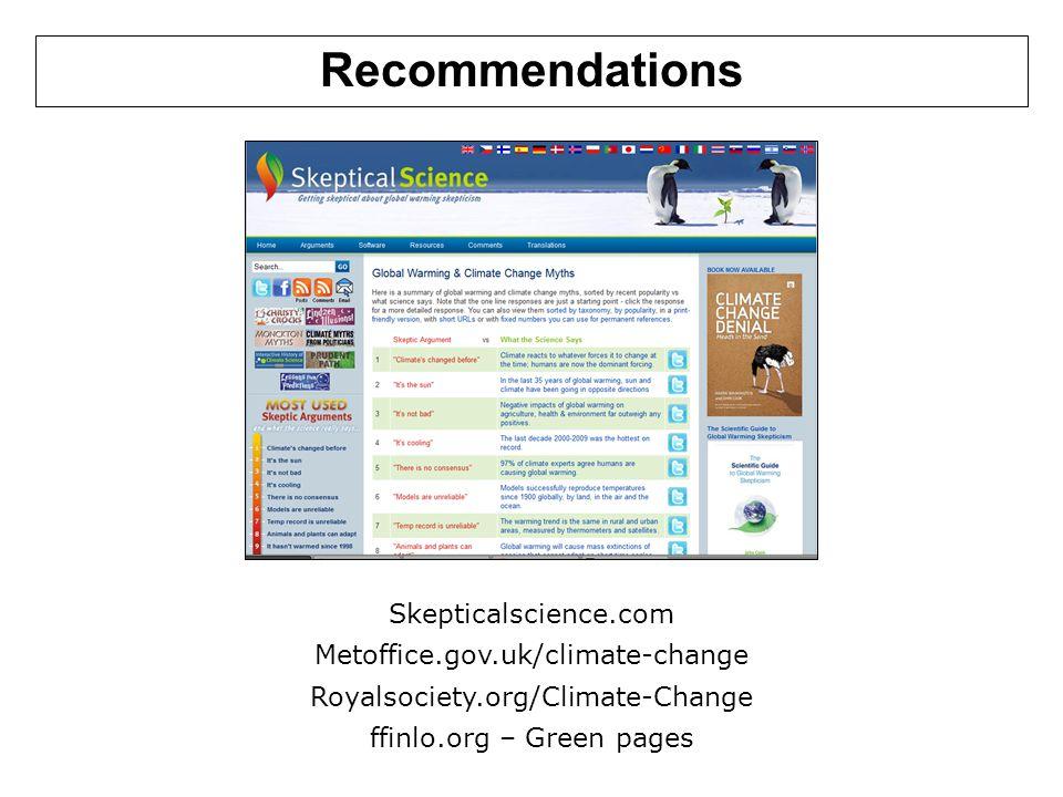 Recommendations Skepticalscience.com Metoffice.gov.uk/climate-change