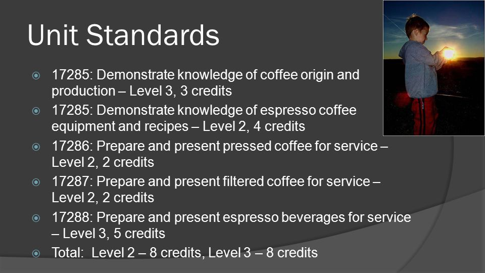 Unit Standards 17285: Demonstrate knowledge of coffee origin and production – Level 3, 3 credits.