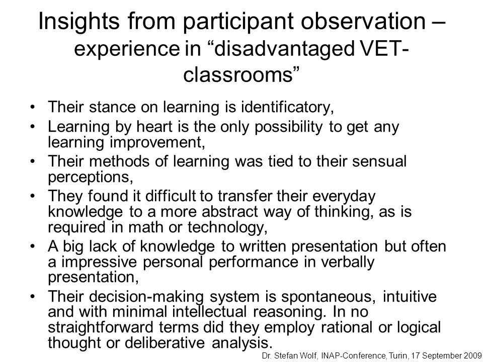Insights from participant observation – experience in disadvantaged VET-classrooms