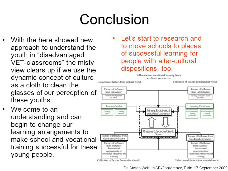 Conclusion Let's start to research and to move schools to places of successful learning for people with alter-cultural dispositions, too.