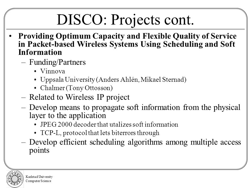 DISCO: Projects cont.
