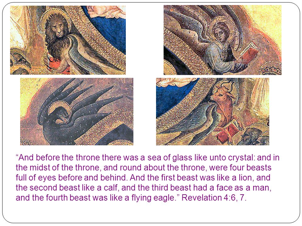 And before the throne there was a sea of glass like unto crystal: and in the midst of the throne, and round about the throne, were four beasts full of eyes before and behind.