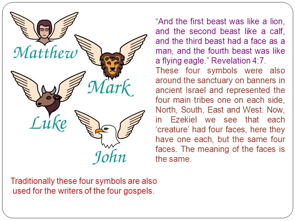 And the first beast was like a lion, and the second beast like a calf, and the third beast had a face as a man, and the fourth beast was like a flying eagle. Revelation 4:7.