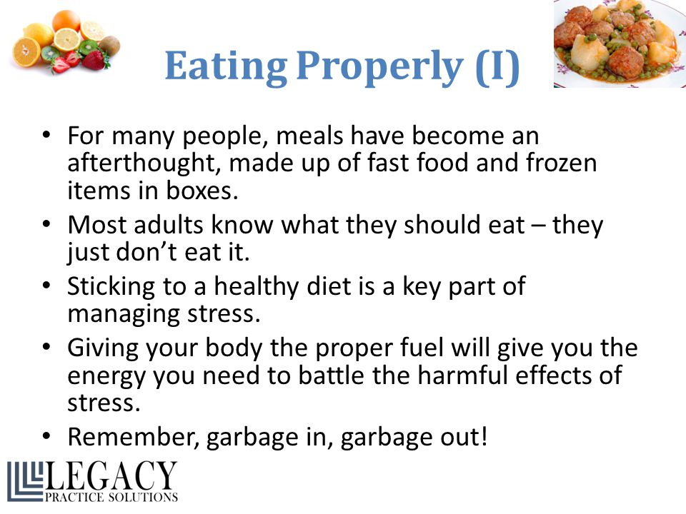 Eating Properly (I) For many people, meals have become an afterthought, made up of fast food and frozen items in boxes.