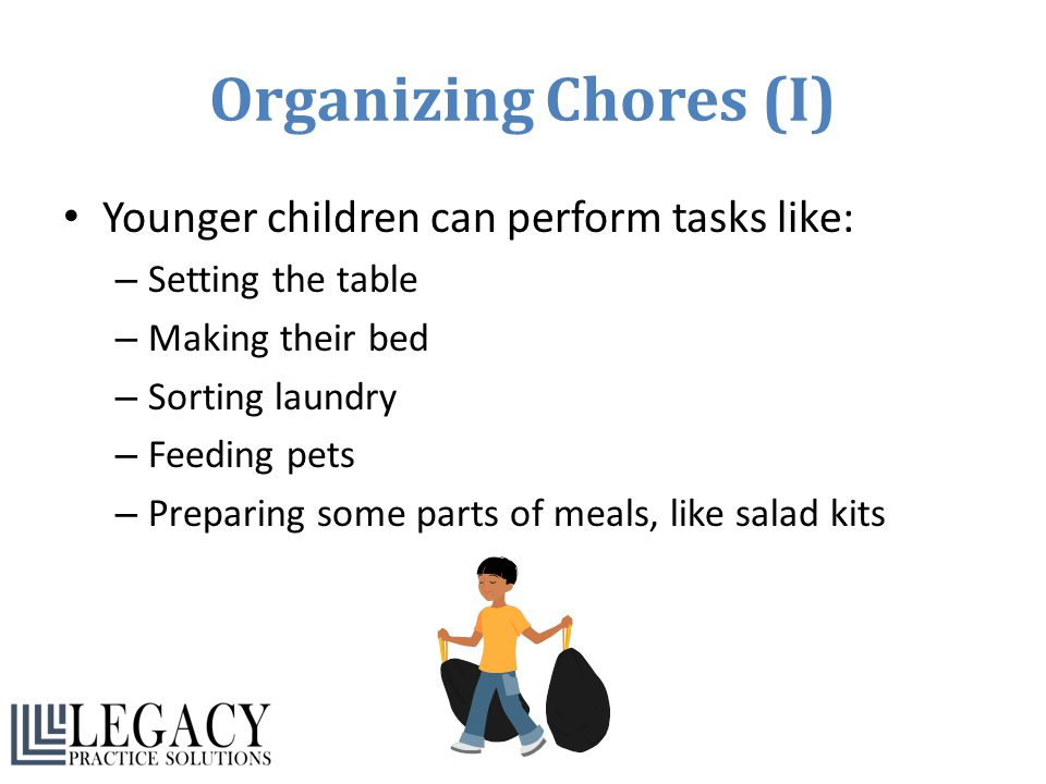 Organizing Chores (I) Younger children can perform tasks like:
