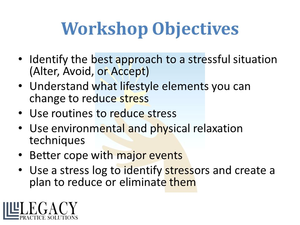 Workshop Objectives Identify the best approach to a stressful situation (Alter, Avoid, or Accept)