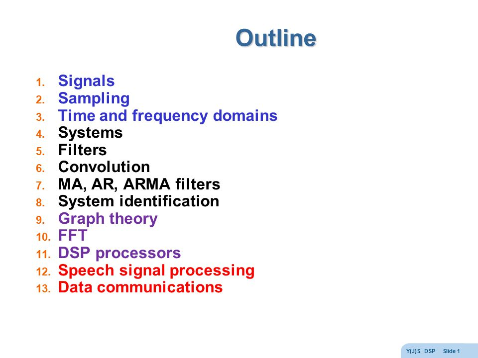 Outline Signals Sampling Time and frequency domains Systems Filters