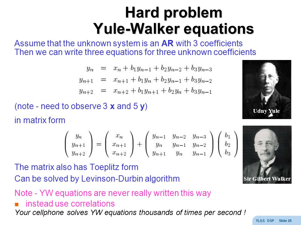 Hard problem Yule-Walker equations