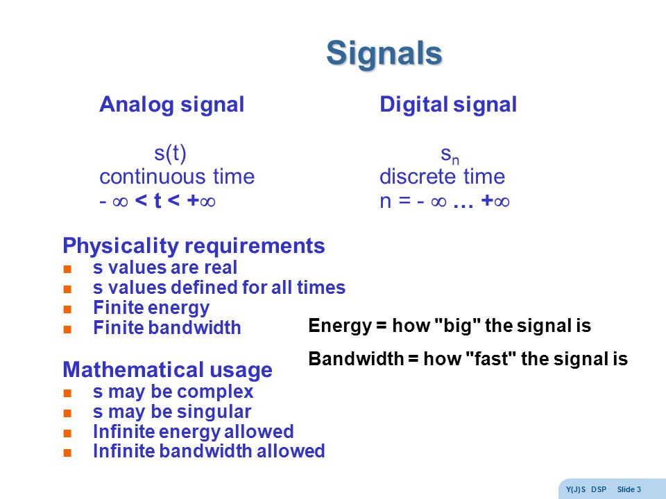 Signals Analog signal s(t) continuous time -  < t < +