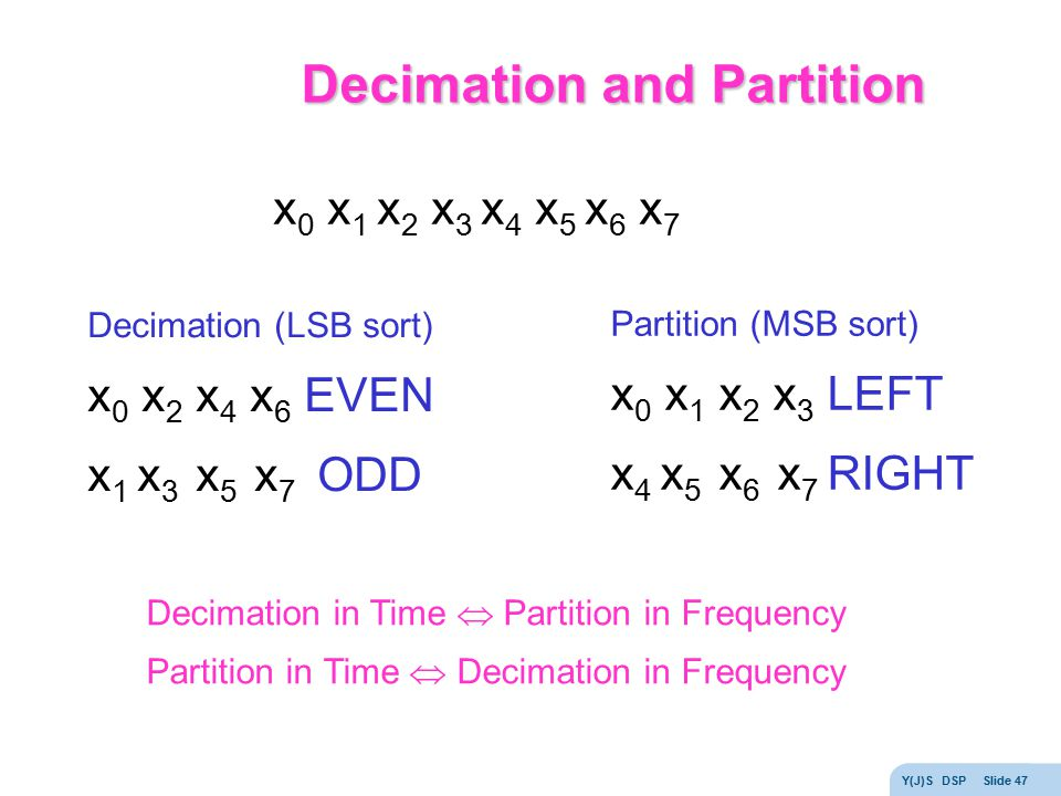 Decimation and Partition