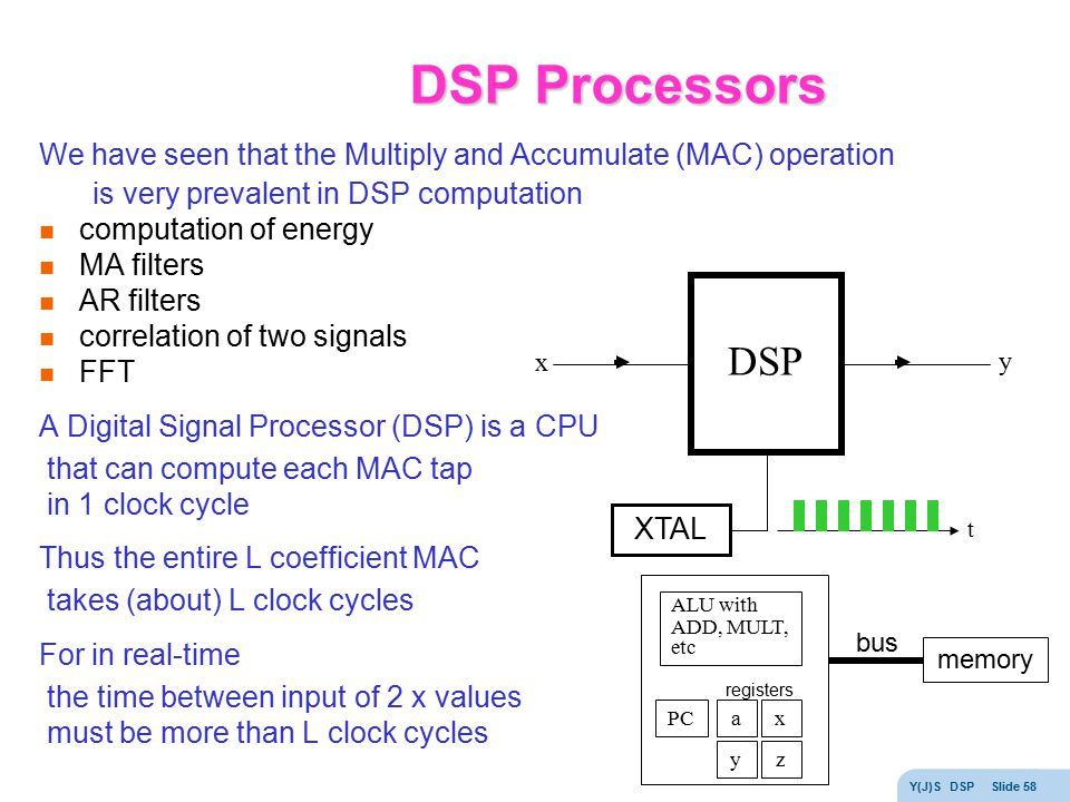 DSP Processors We have seen that the Multiply and Accumulate (MAC) operation. is very prevalent in DSP computation.