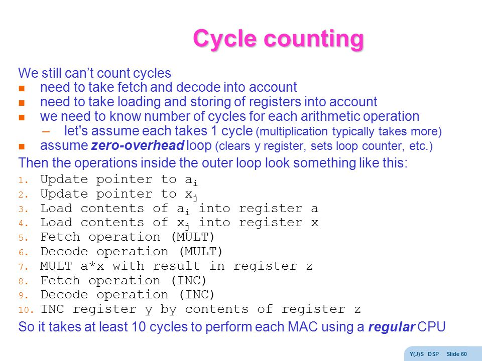 Cycle counting We still can't count cycles