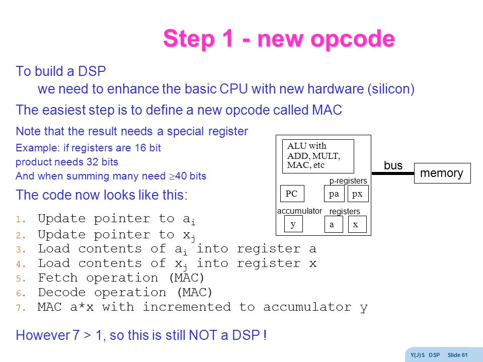 Step 1 - new opcode To build a DSP